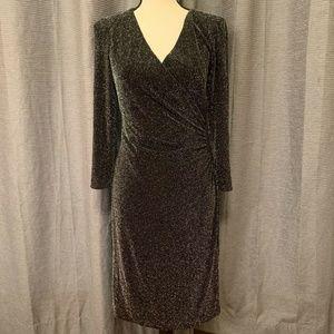 Chaps Surplice Wrap Dress Black Glittery Silver 8